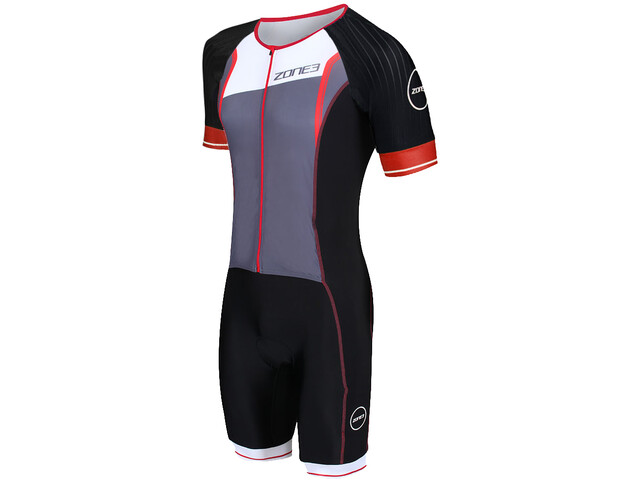 Zone3 Lava Long Distance Traje SS con cremallera completa Hombre, black/red/white